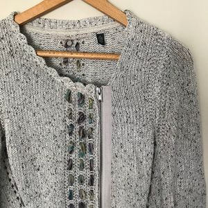 ANTHRO Knitted & Knotted M Open knot zip cardigan